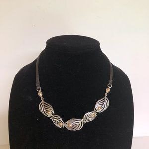 Lucky Brand leather and silver leaf necklace